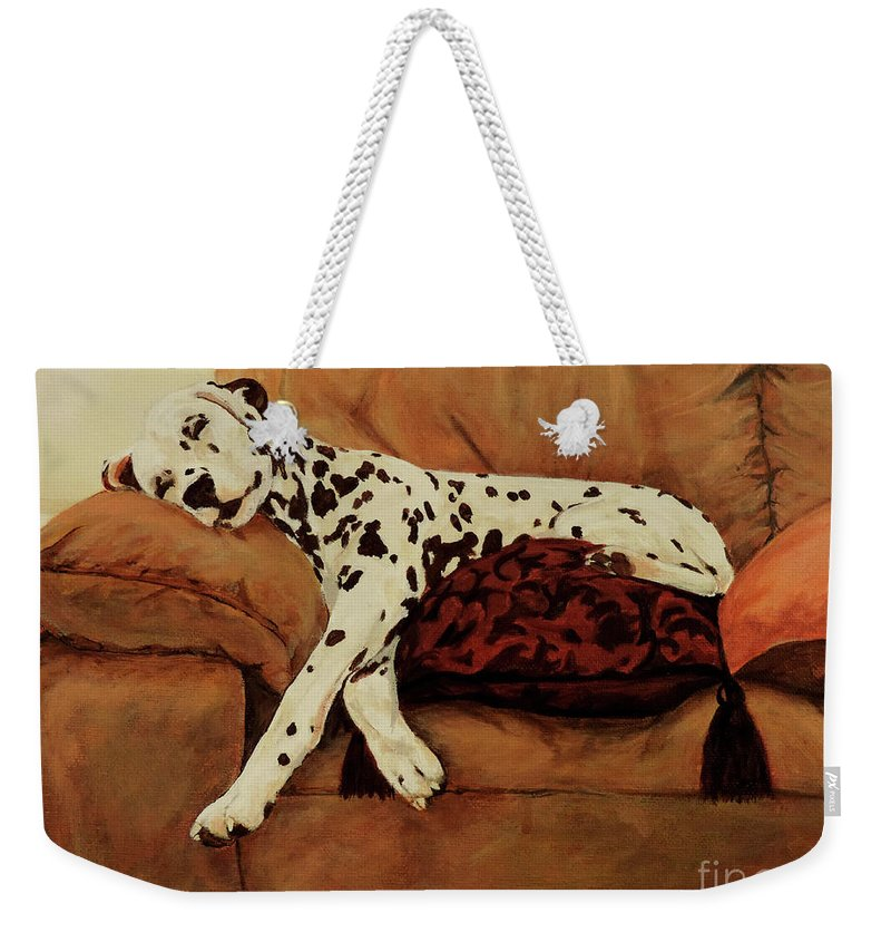 Dalmatian Dog Weekender Tote Bag featuring the painting Naptime by Jacki McGovern