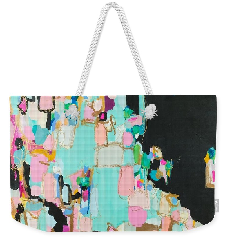 Abstract Art Pink Black Metallic Gold Bronze Magenta Seafood Dramatic Drippy Yellow Turquoise Blue Cream Ecru Valley Of The Dolls Susan Skelley Weekender Tote Bag featuring the digital art New Upload by Susan Skelley