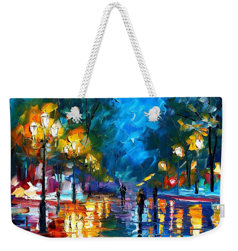 Landscape Weekender Tote Bag featuring the painting Night Park by Leonid Afremov