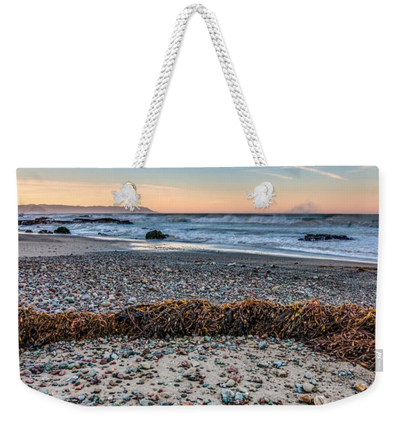 Cayucos Weekender Tote Bag featuring the photograph Cayucos State Beach Flotsam Pano by Patti Deters