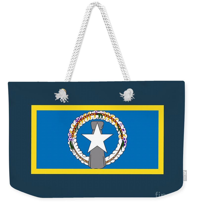 Flag Weekender Tote Bag featuring the digital art Northern Marianas Flag by Frederick Holiday
