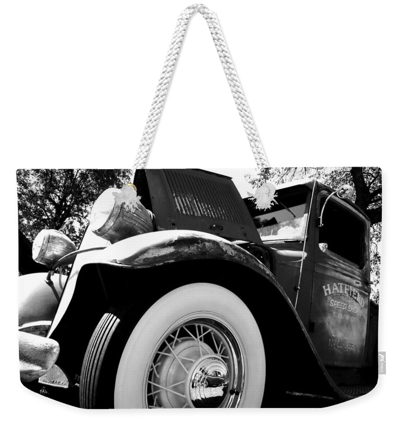 Port Washington Fishday Car Show Weekender Tote Bag featuring the photograph Old Truck by Jamie Lynn