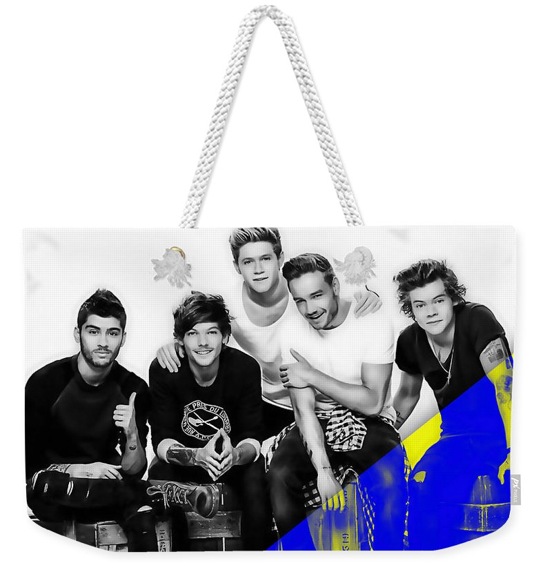 Harry Styles Weekender Tote Bag featuring the mixed media One Direction Collection by Marvin Blaine