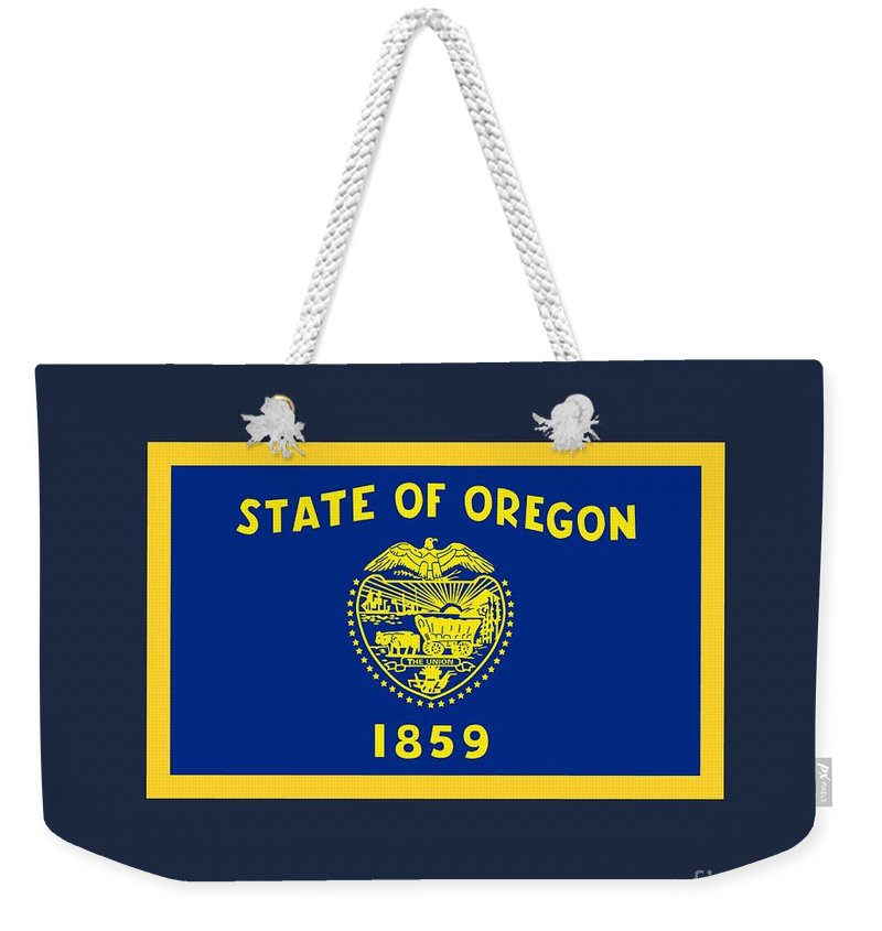 Flag Weekender Tote Bag featuring the digital art Oregon Flag by Frederick Holiday