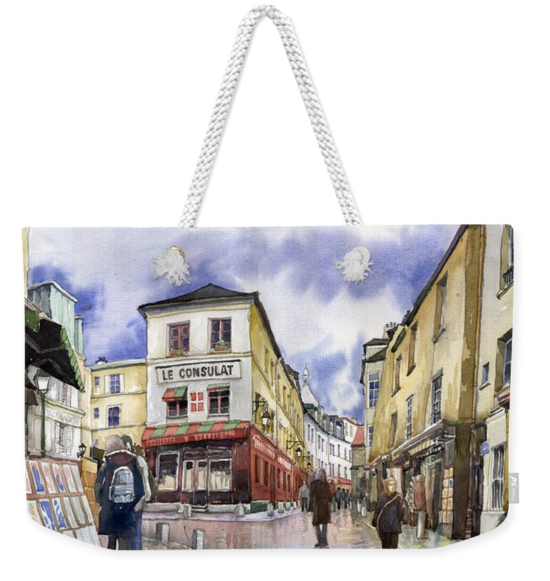 Watercolour Weekender Tote Bag featuring the painting Paris Montmartre by Yuriy Shevchuk