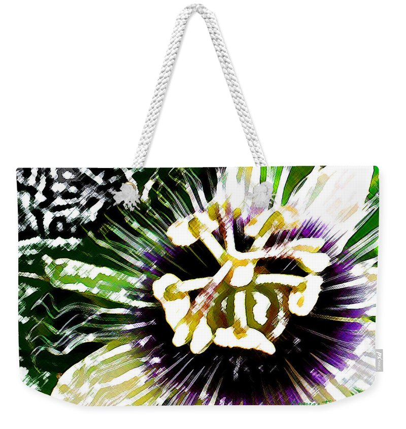 Passion Fruit Flower Weekender Tote Bag featuring the digital art Passion Flower by James Temple