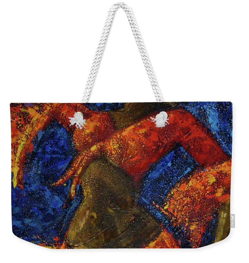 Dancer Weekender Tote Bag featuring the painting Passion by Oscar Ortiz