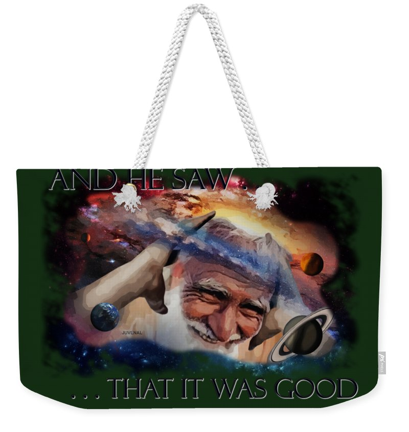 Canvas Prints Weekender Tote Bag featuring the drawing Placing Light In The Firmament by Joseph Juvenal