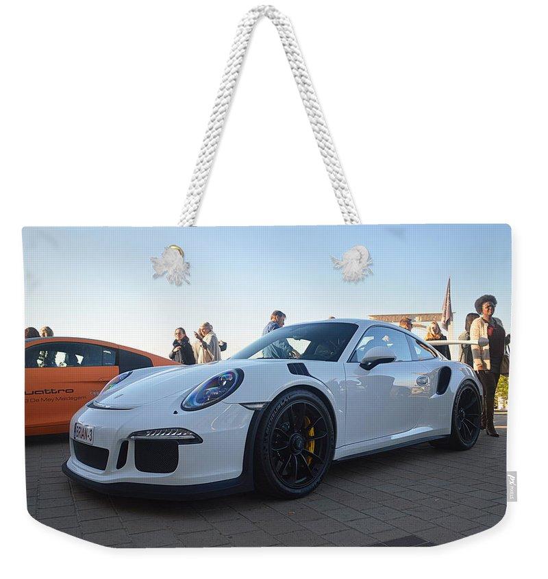 Porsche Weekender Tote Bag featuring the photograph Porsche 911 Gt3rs by Sportscars OfBelgium