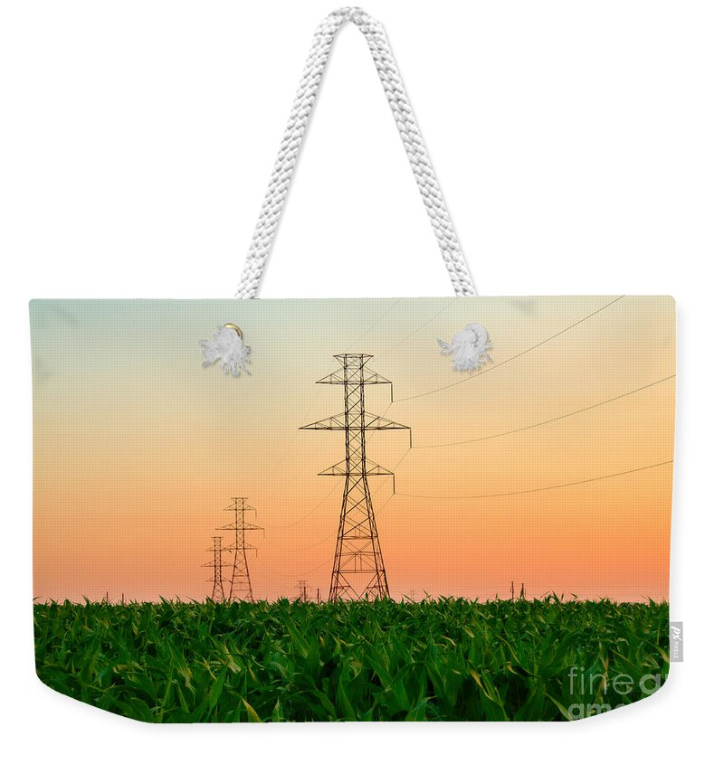 Lancaster Weekender Tote Bag featuring the photograph Power Lines by George Mattei