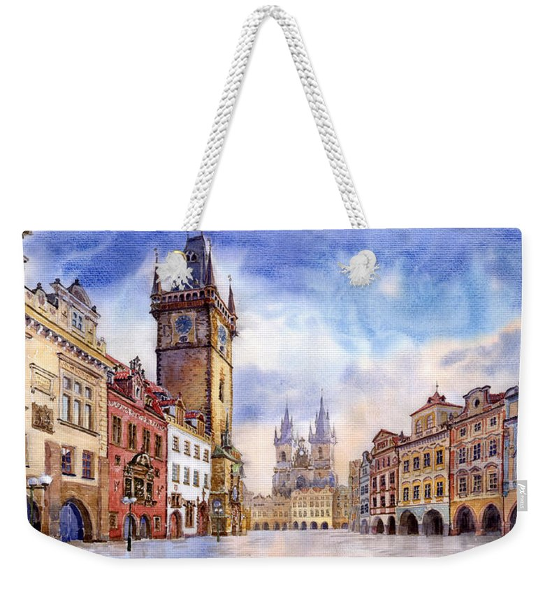Watercolour Weekender Tote Bag featuring the painting Prague Old Town Square by Yuriy Shevchuk
