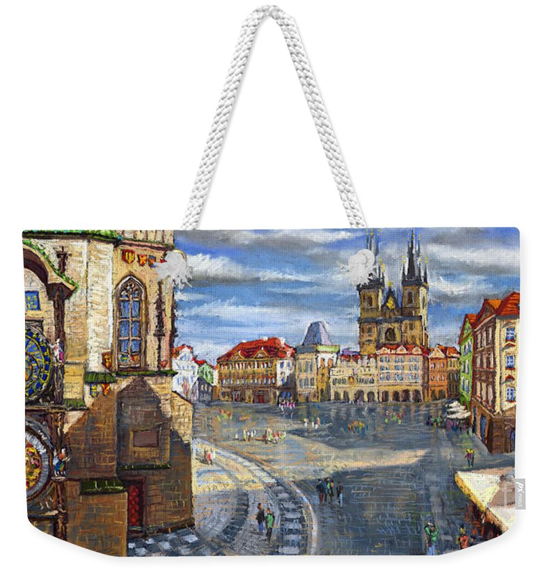 Pastel Weekender Tote Bag featuring the painting Prague Old Town Squere by Yuriy Shevchuk