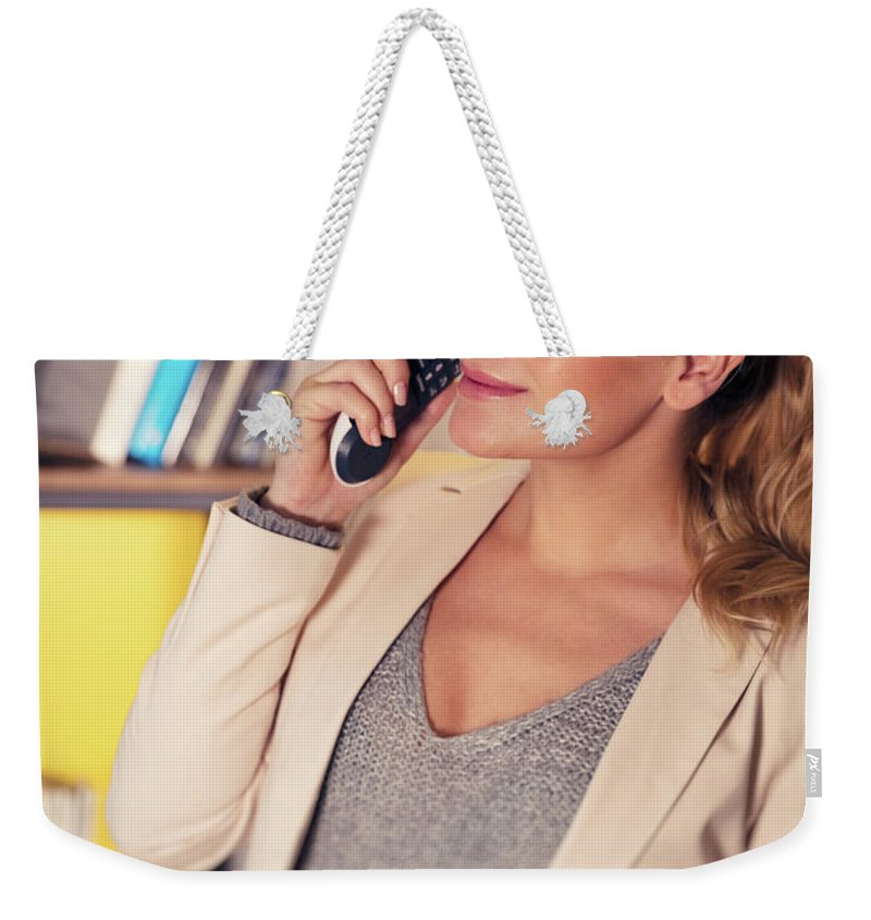 Active Weekender Tote Bag featuring the photograph Pregnant Woman At Work by Anna Om