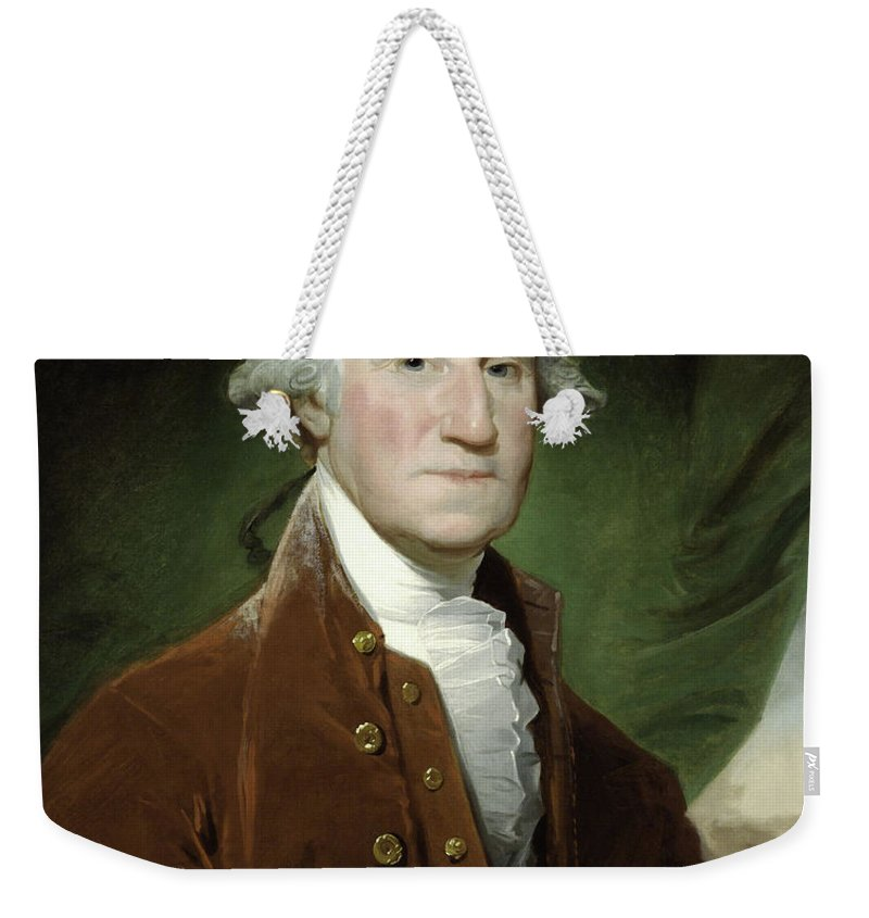 George Washington Weekender Tote Bag featuring the mixed media President George Washington 1 by War Is Hell Store