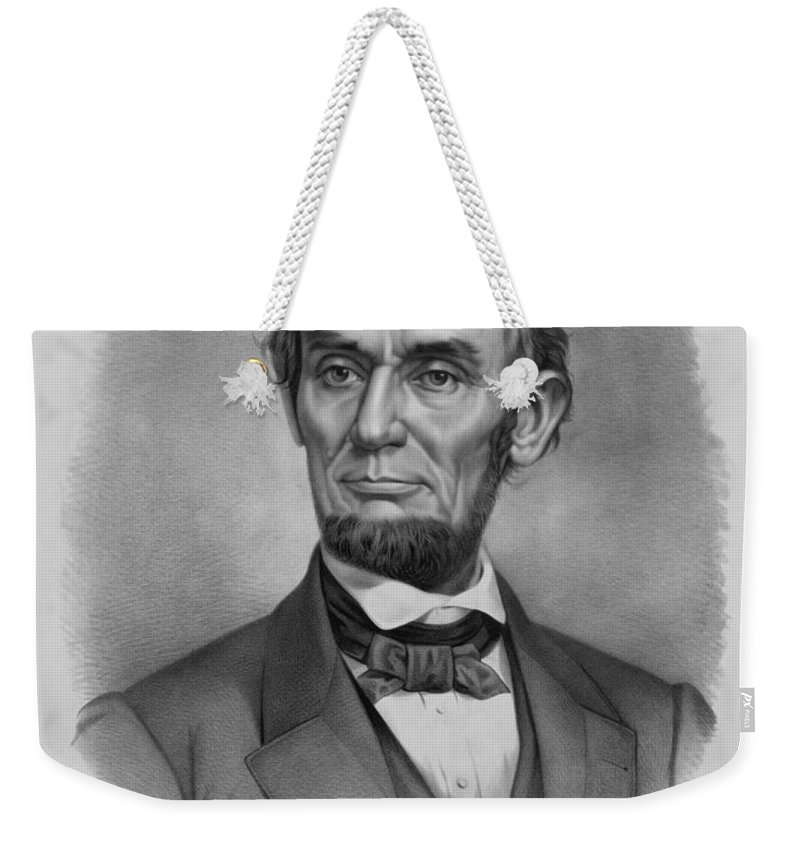 Abraham Lincoln Weekender Tote Bag featuring the drawing President Lincoln by War Is Hell Store