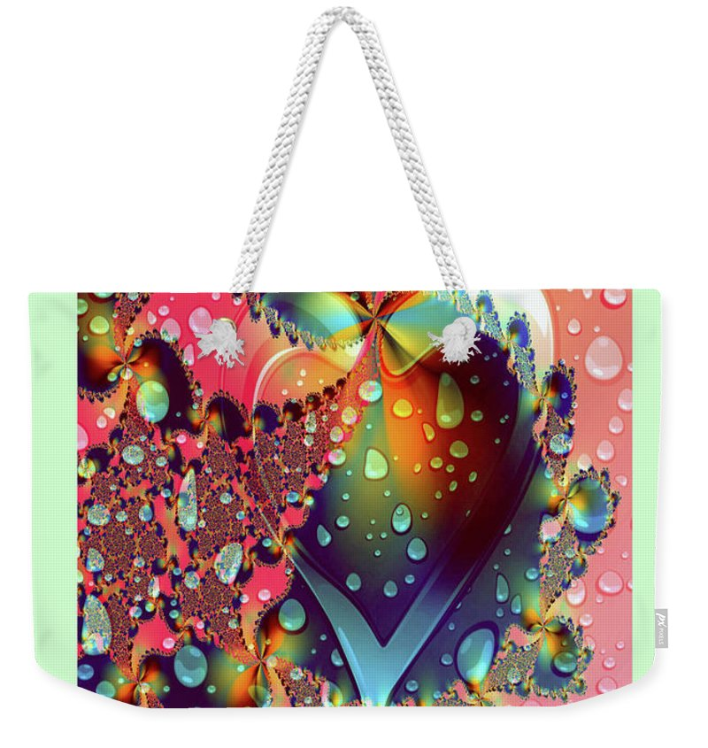 Greeting Cards Weekender Tote Bag featuring the digital art Raining In My Heart by Mitchell Watrous