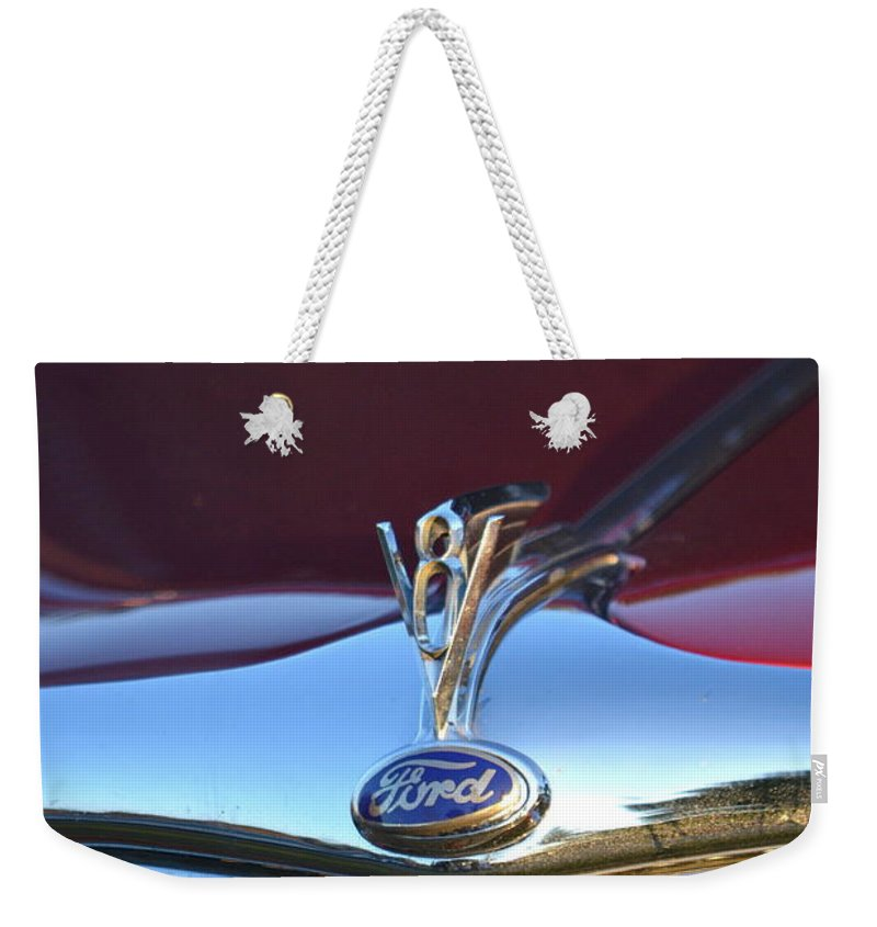 Weekender Tote Bag featuring the photograph Red Ford Hotrod by Dean Ferreira
