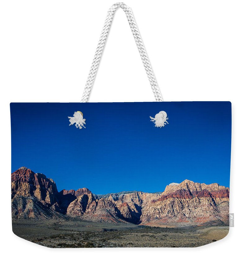 Desert Weekender Tote Bag featuring the photograph Red Rock Canyon by Rockland Filmworks