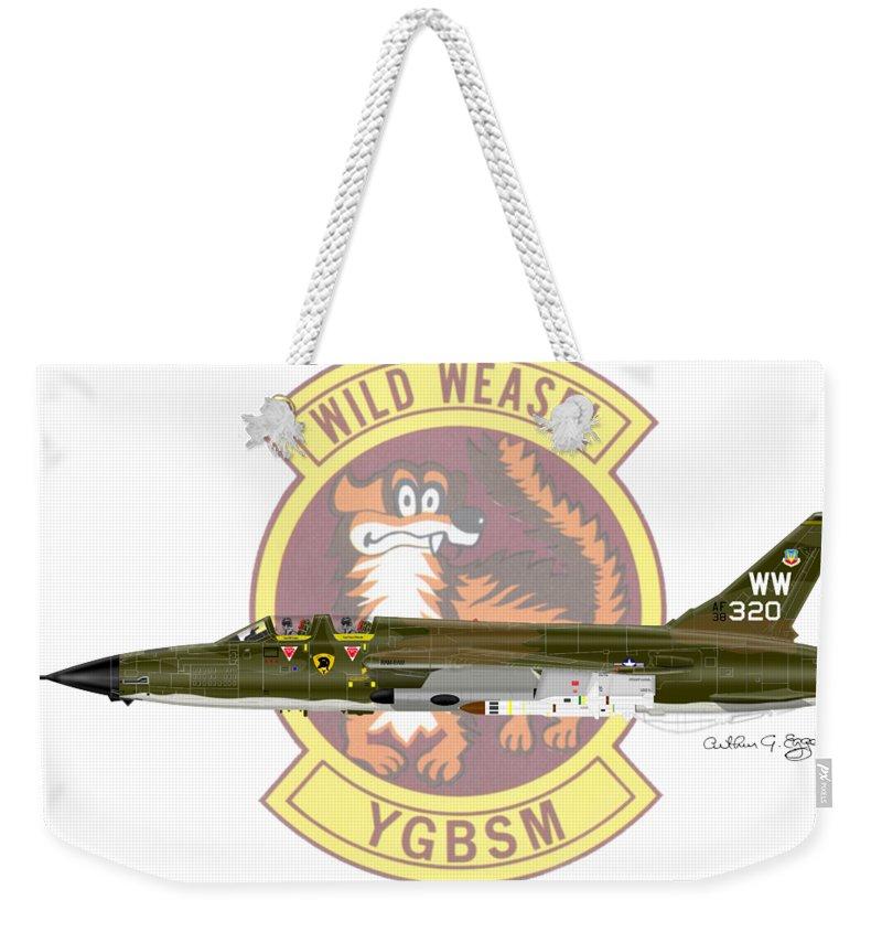 Republic Weekender Tote Bag featuring the digital art Republic F-105g Thunderchief 561tfs by Arthur Eggers