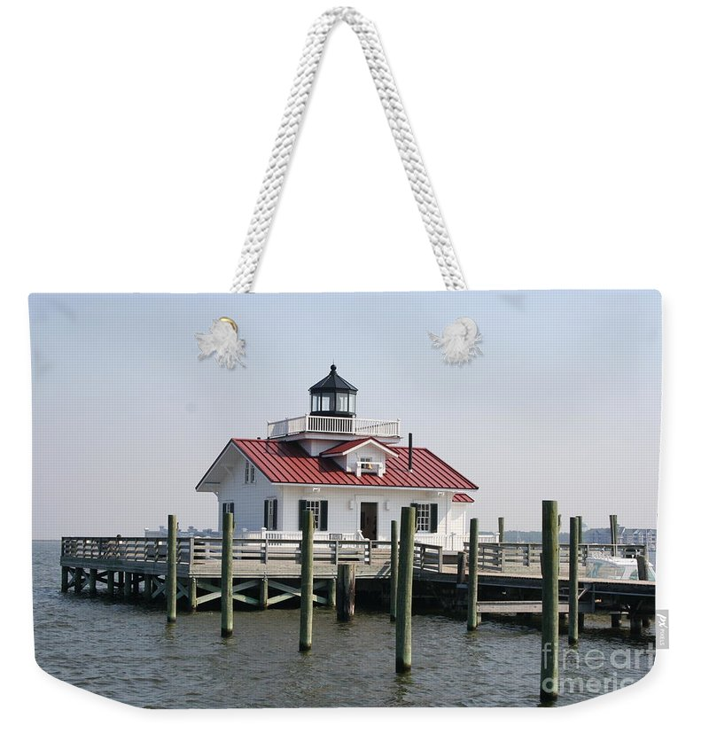 Lighthouse Weekender Tote Bag featuring the photograph Roanoke Marshes Lighthouse by Christiane Schulze Art And Photography