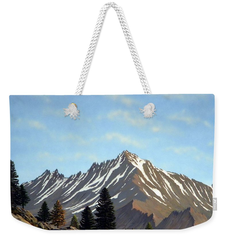 Landscape Weekender Tote Bag featuring the painting Rugged Peaks by Frank Wilson