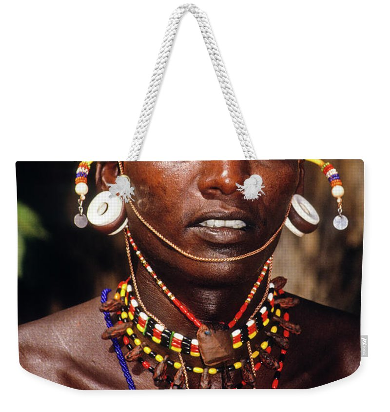 Africa Weekender Tote Bag featuring the photograph Samburu Warrior by Michele Burgess