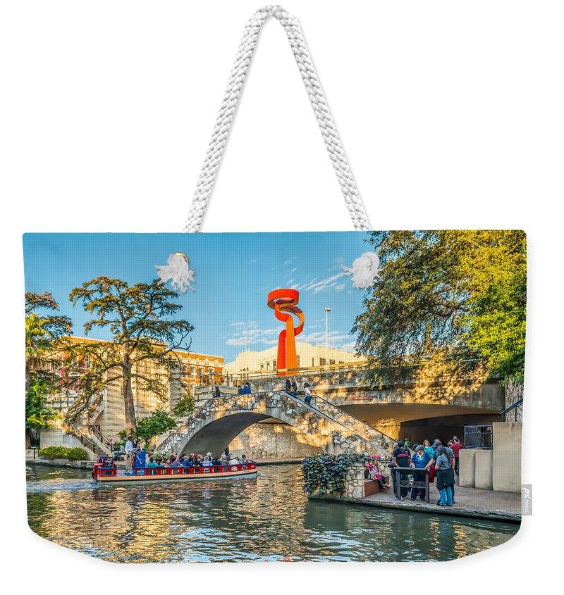 San Antonio Weekender Tote Bag featuring the digital art San Antonio River Walk by Tod and Cynthia Grubbs