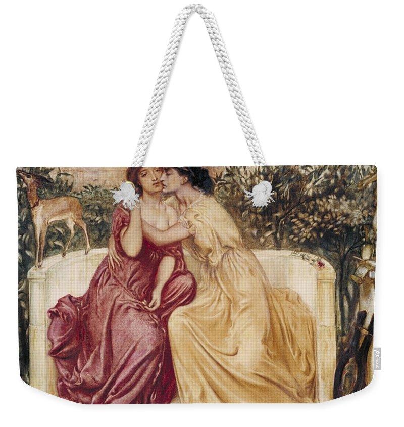 Simeon Solomon 1840–1905  Sappho And Erinna In A Garden At Mytilene Weekender Tote Bag featuring the painting Sappho And Erinna In A Garden At Mytilene by Simeon Solomon