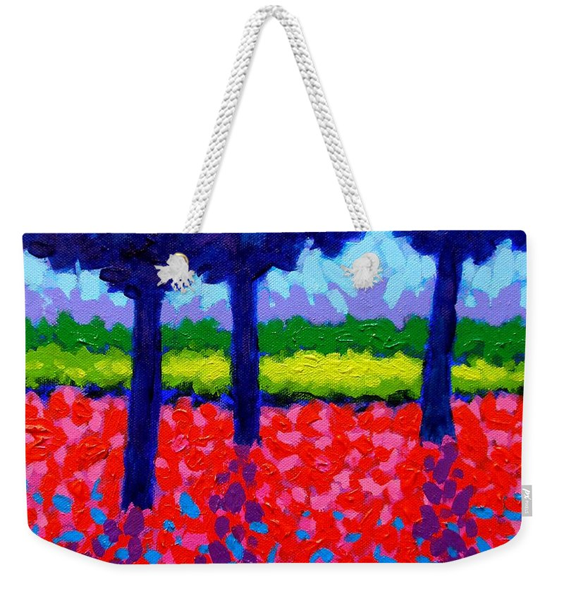 Trees Weekender Tote Bag featuring the painting Shadow Trees by John Nolan