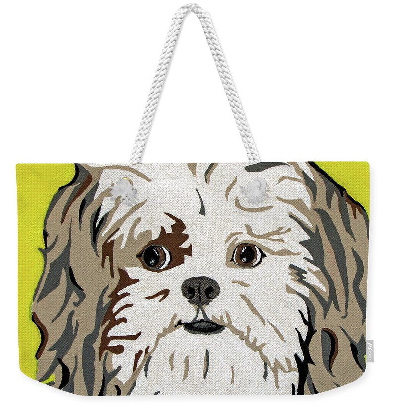 Shih Tzu Weekender Tote Bag featuring the painting Shih Tzu by Slade Roberts