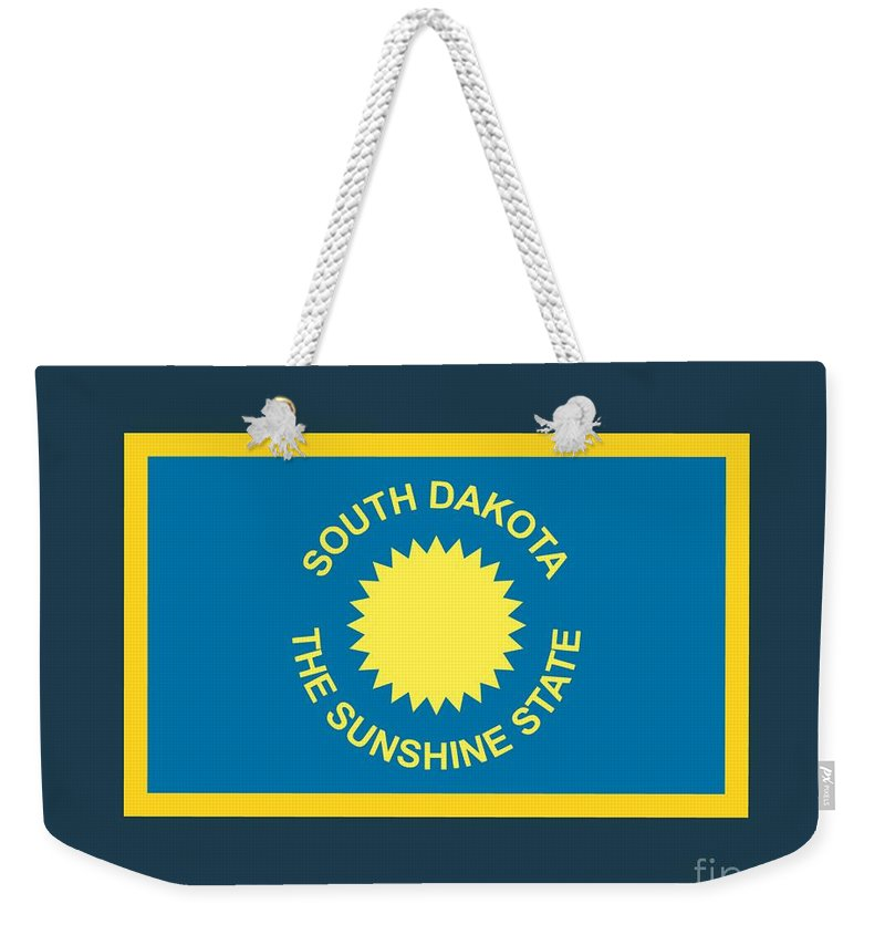 Flag Weekender Tote Bag featuring the digital art South Dakota Flag by Frederick Holiday