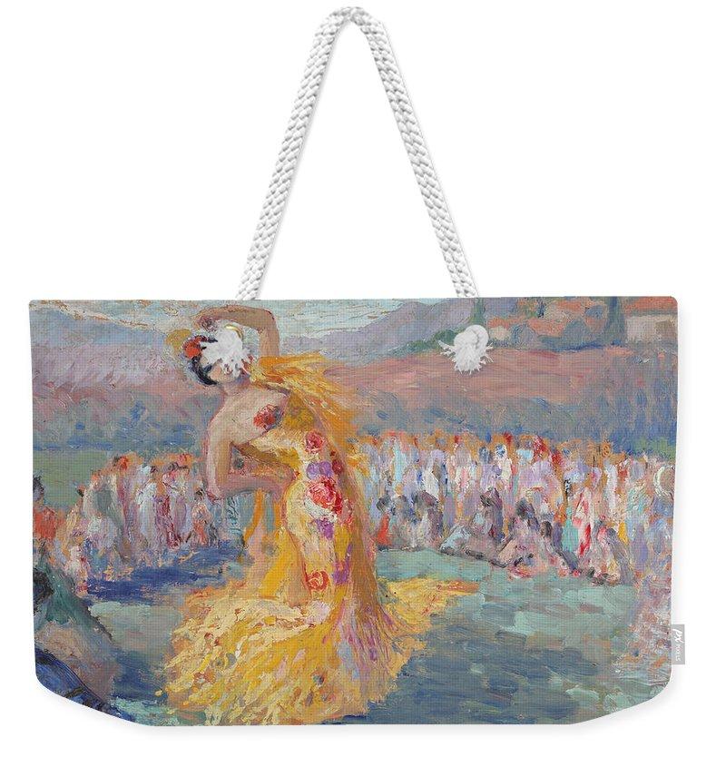 Spain Dancer By Ernest Moulines (1870-1942) Weekender Tote Bag featuring the painting Spain Dancer by Ernest Moulines