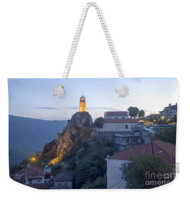 Dusk Weekender Tote Bag featuring the photograph Spectacular Meteora Rock Formations by Moshe Torgovitsky