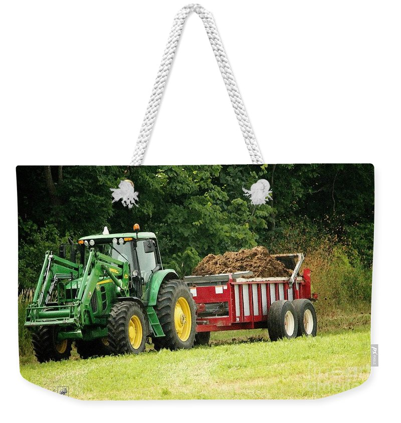 Mccombie Weekender Tote Bag featuring the painting Spreading Manure by J McCombie