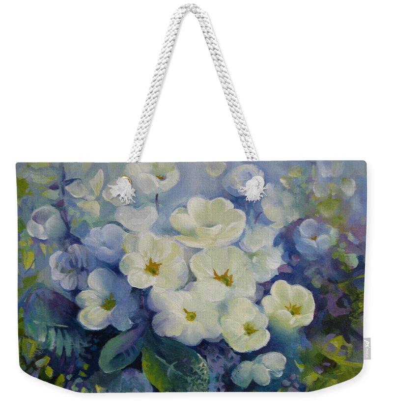 Primrose Weekender Tote Bag featuring the painting Spring by Elena Oleniuc