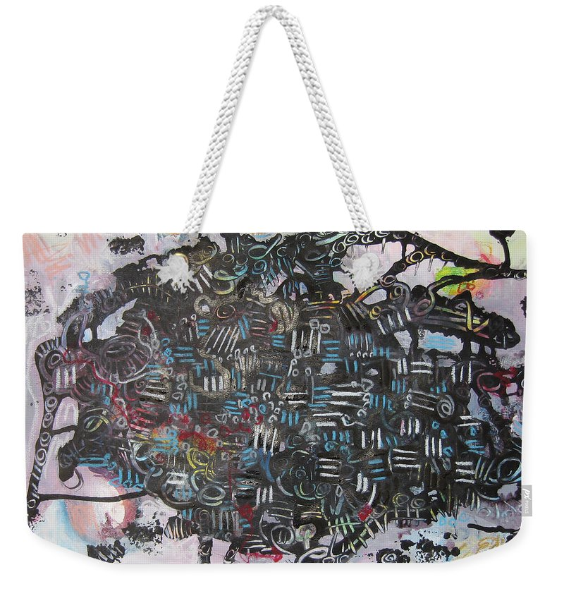 Abstract Weekender Tote Bag featuring the painting Spring Fever6 by Seon-Jeong Kim