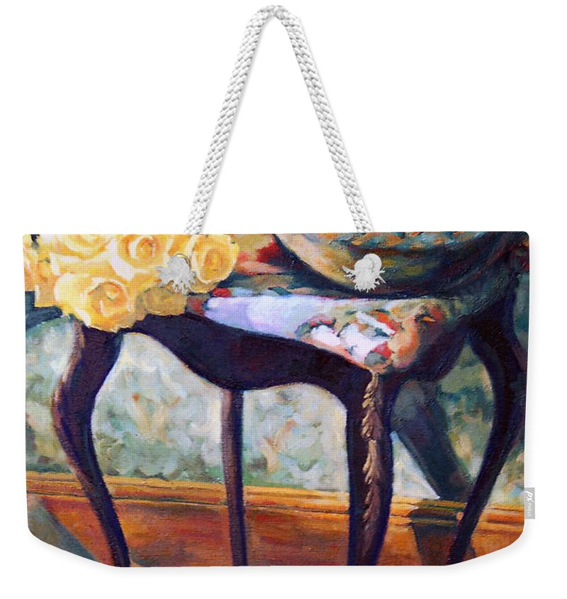 Still Life Weekender Tote Bag featuring the painting Still Life With Roses by Iliyan Bozhanov