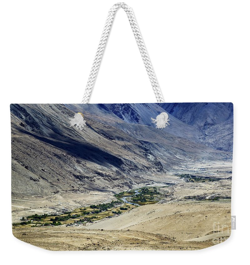 Tangsey Weekender Tote Bag featuring the photograph Tangsey Village Landscape Of Leh Ladakh Jammu And Kashmir India by Rudra Narayan Mitra