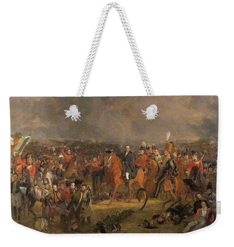 Jan Weekender Tote Bag featuring the painting The Battle Of Waterloo by Jan Willem Pieneman