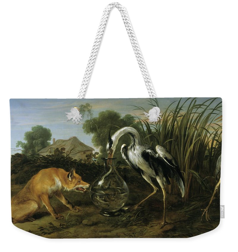 The Fox Weekender Tote Bag featuring the painting The Fox Visiting The Heron 1 by Frans Snyders