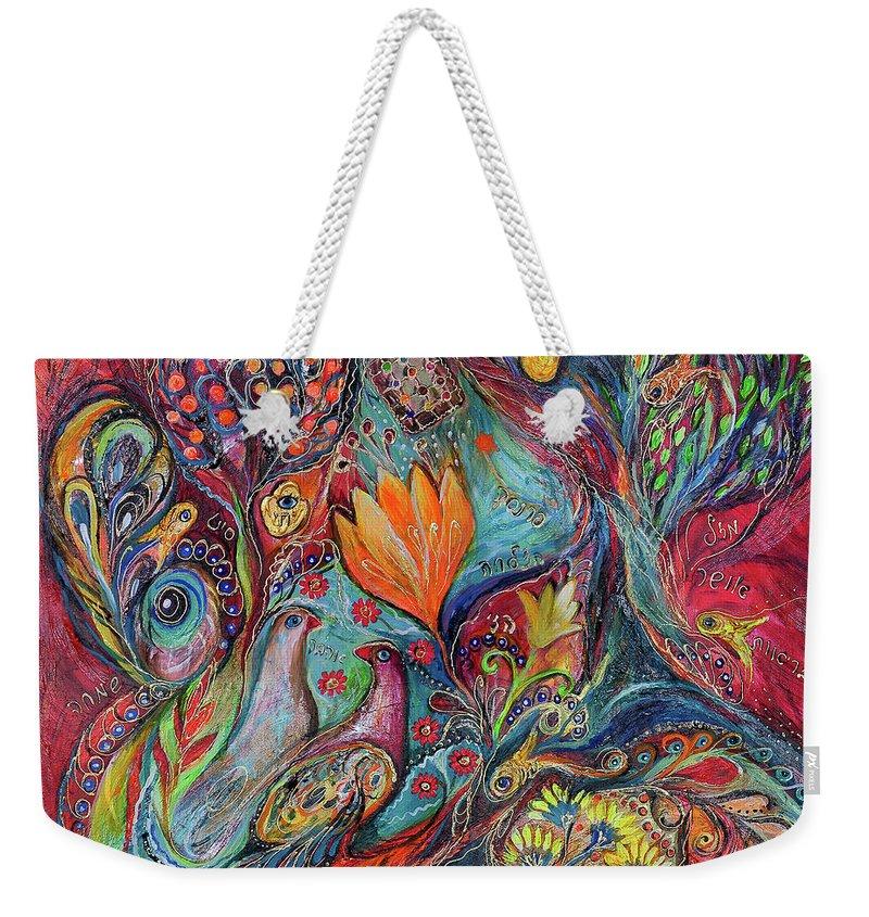 Original Weekender Tote Bag featuring the painting The Magic Garden by Elena Kotliarker