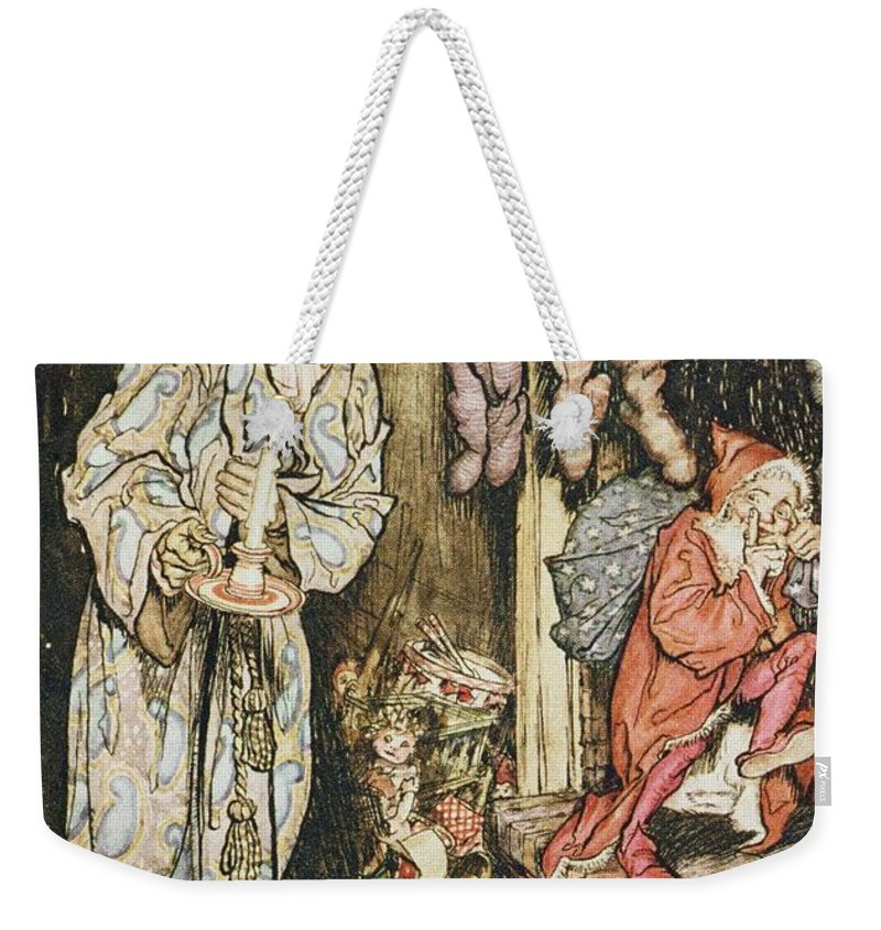 Xmas Weekender Tote Bag featuring the drawing The Night Before Christmas by Arthur Rackham