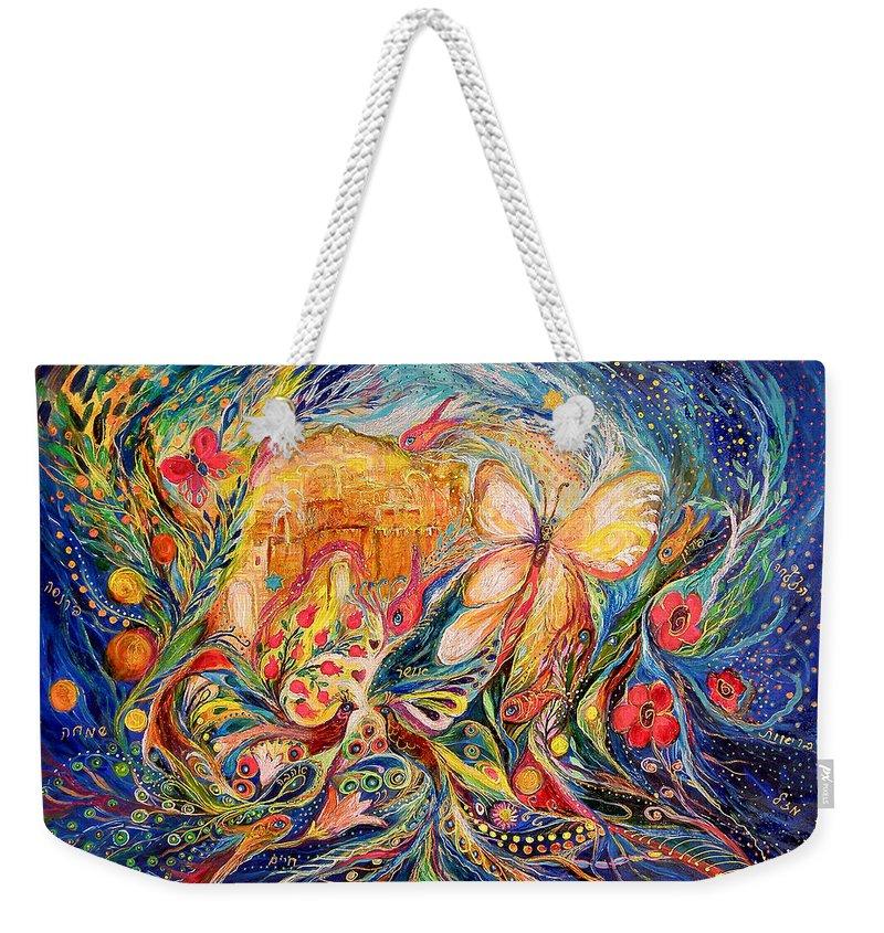 Original Weekender Tote Bag featuring the painting The Shining Of Jerusalem by Elena Kotliarker