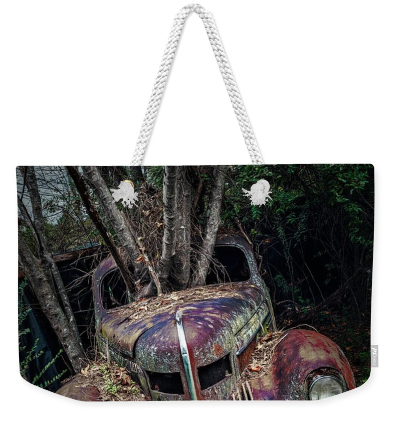 Vintage Cars Weekender Tote Bag featuring the photograph 2 Ton Flower Pot by Doug Sturgess