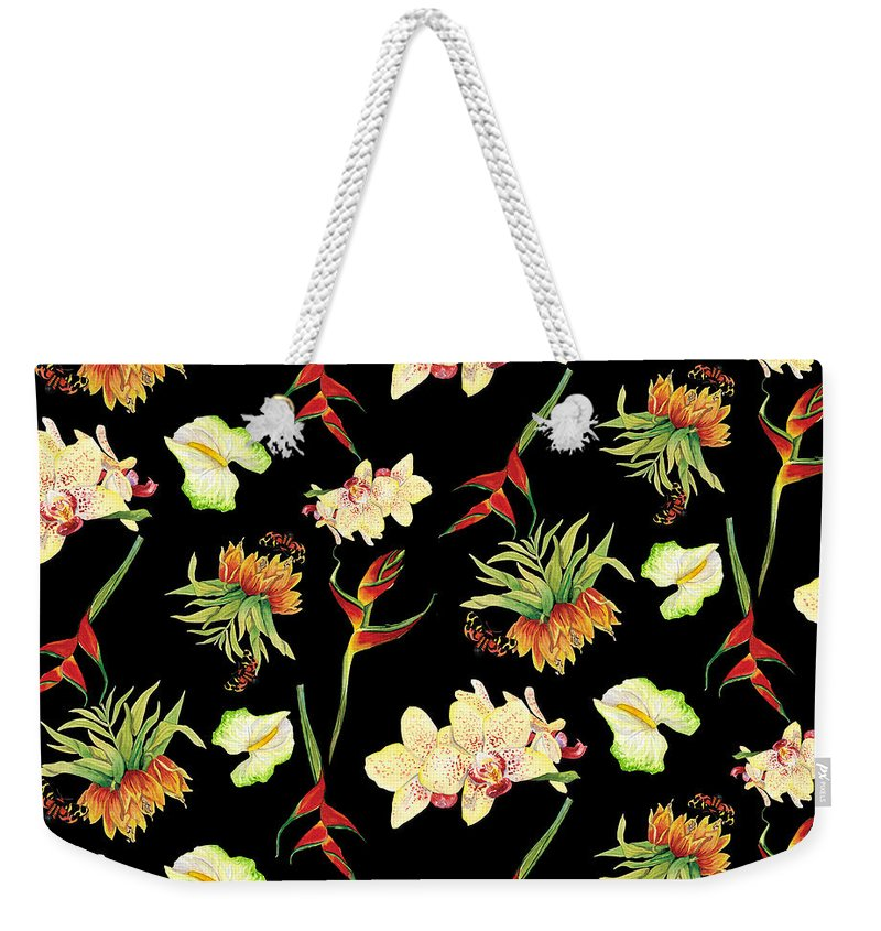 Orchid Weekender Tote Bag featuring the painting Tropical Island Floral Half Drop Pattern by Audrey Jeanne Roberts