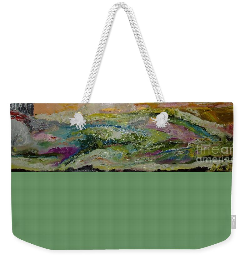 Sky Weekender Tote Bag featuring the painting Untitled by Bennu Bennu