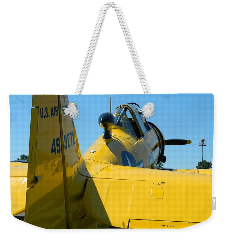 Yellow Weekender Tote Bag featuring the photograph Vehicles Series by Arlane Crump