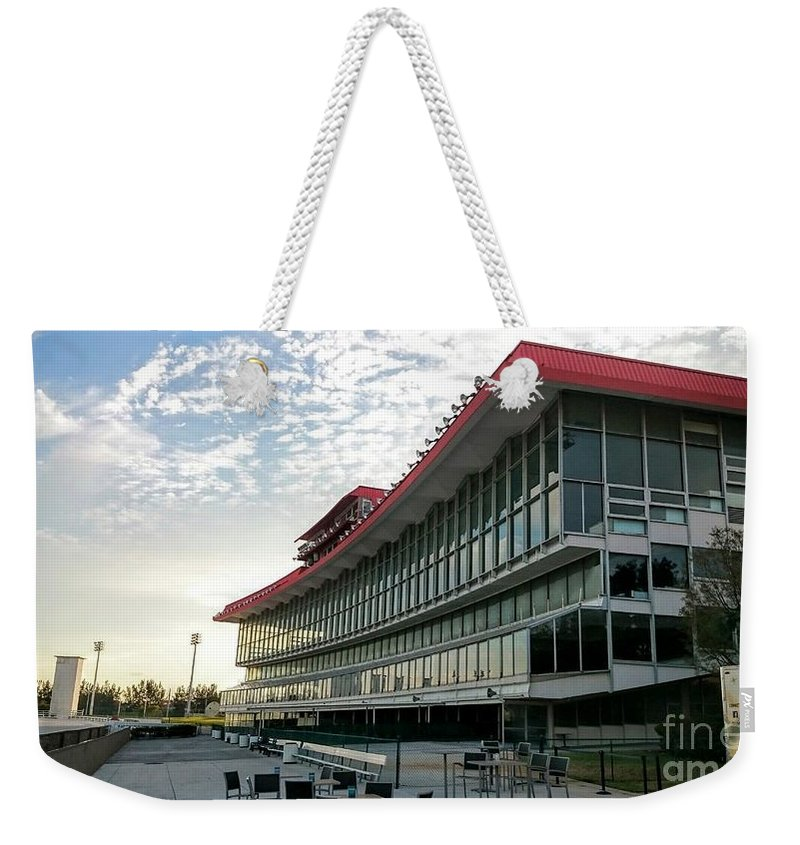 Pompano Park And Poker Weekender Tote Bag featuring the photograph Vintage Pompano Park by Daniel Diaz