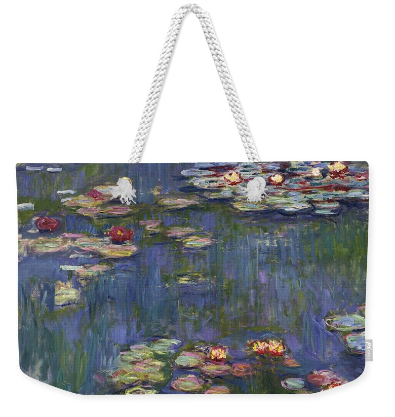 Monet Weekender Tote Bag featuring the painting Water Lilies, 1916 by Claude Monet