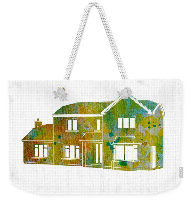 Watercolor House Weekender Tote Bag featuring the painting Watercolor House by Oiyee At Oystudio